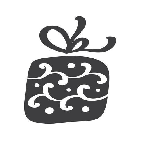 Silhueta de ícone do vetor giftbox de Natal. Símbolo de contorno simples presente. Isolado no kit de sinal web branco de abeto estilizado. Imagem escandinava de Handdraw