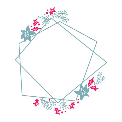 Christmas Hand Drawn wreath geometry frame stylized square for card with flowers and leaves. Scandinavian vector illustration with place for your text