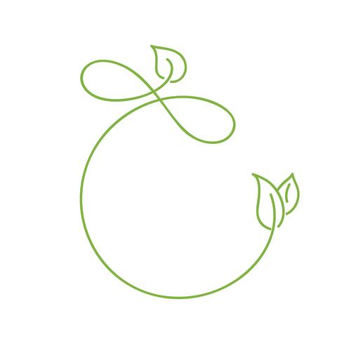 Green monoline calligraphy logo of green leaf ecology vector element. Divider or corner design for wedding and Valentines Day, birthday greeting card and web, eco bio icon