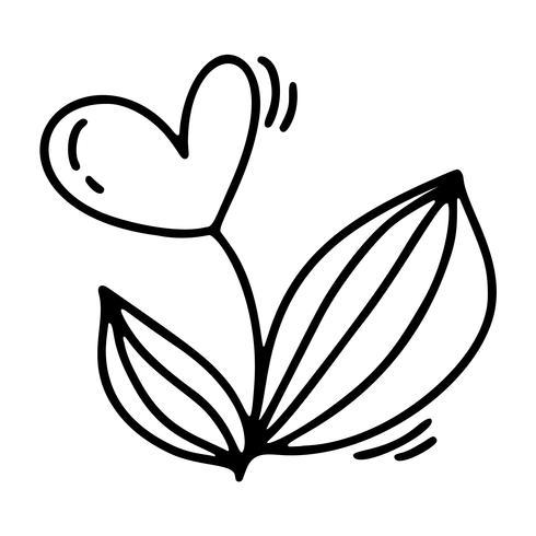 Flor de monoline de vetor com coração. Dia dos namorados mão desenhada ícone. Valentim do elemento da planta do projeto da garatuja do esboço do feriado. decoração de amor para web, casamento e impressão. Ilustração isolada