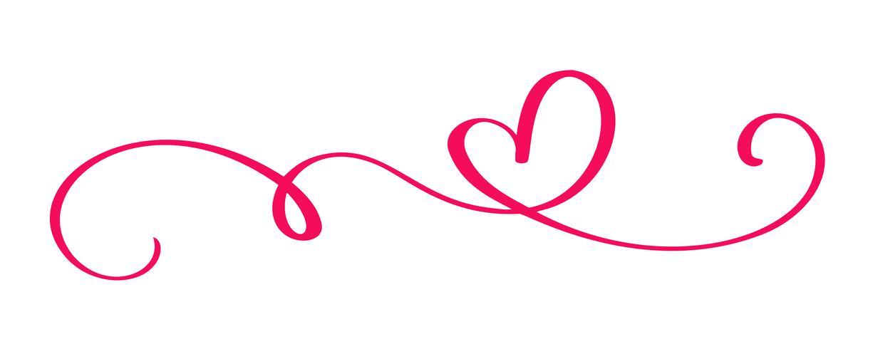 due cuori calligrafici disegnati a mano. Illustrazione lettering calligrafia. San Valentino di elemento di design di vacanza. Icona love decor per web, matrimonio e stampa. Isolato