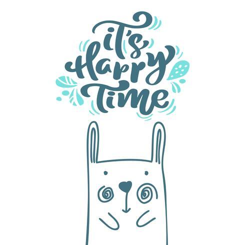 Sua caligrafia de tempo feliz letras escandinavas texto. Cartão de Natal com mão desenhada ilustração vetorial de coelho. Objetos isolados
