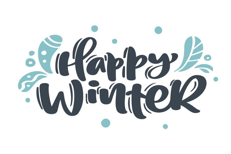 Lycklig vinter Jul vintage kalligrafi bokstäver vektor text med teckning skandinaviska blomstra hand inredning. För konstdesign, mockup broschyr stil, banner idé täcker, häfte tryck flygblad, affisch