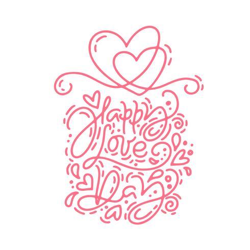 Röd vektor monolin kalligrafi fras Glad kärleksdag. Valentinsdag Hand Dragit bokstäver. Heart Holiday sketch doodle Design valentinkort. kärleksdekoration för webben, bröllop och tryck. Isolerad illustration