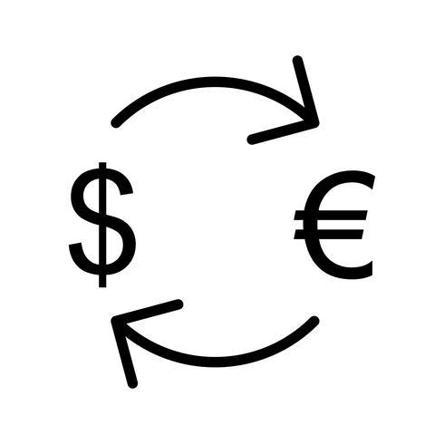 Troca de euro com ícone de vetor de dólar