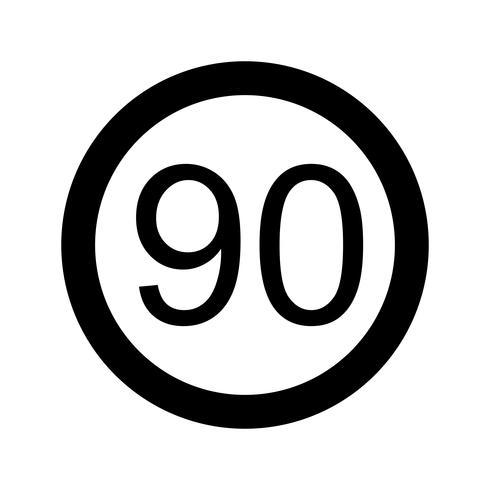 Icône de vecteur vitesse limite 90
