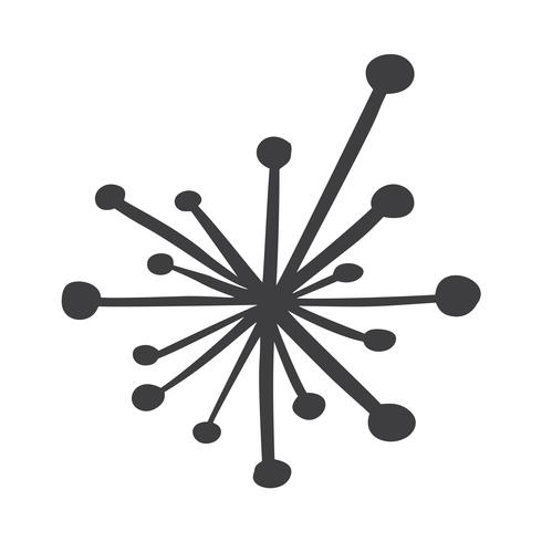 Segno di fiocchi di neve handdraw scandinavo. Inverno design elemento illustrazione vettoriale. Icona nera del fiocco di neve isolata su fondo bianco. Sagome di fiocchi di neve. Simbolo di neve, vacanza, tempo freddo, gelo