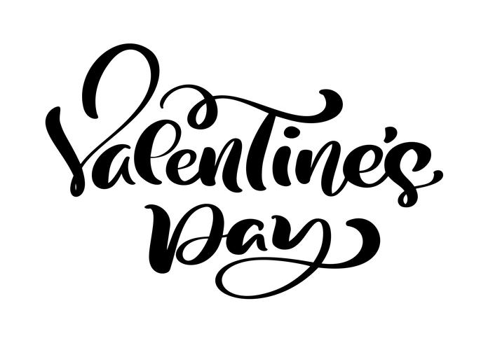 Calligraphy phrase Valentine s Day. Vector Valentines Day Hand Drawn lettering. Heart Holiday sketch doodle Design valentine card. love decor for web, wedding and print. Isolated illustration