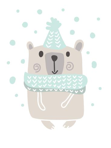 Christmas scandinavian style design. Hand drawn vector illustration of a cute funny bear in a muffler, going for a walk. Isolated objects on white background. Concept for kids apparel, nursery print