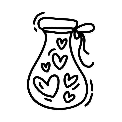 Vector monoline linda jarra con corazones. Día de San Valentín icono dibujado a mano. Día de fiesta del bosquejo del doodle del elemento del diseño. Decoración de amor para web, bodas y estampados. Ilustración aislada