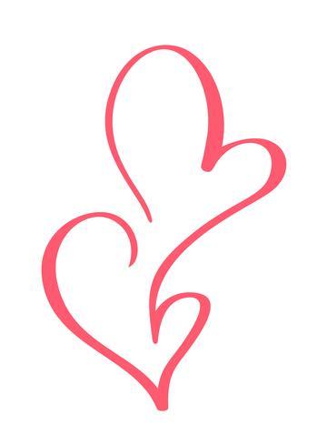 Vector Valentijnsdag Hand getrokken kalligrafische ontwerp hart elementen. Bruiloftsstijl decor voor web, bruiloft en print. Geïsoleerd op witte achtergrond Kalligrafie en belettering illustratie