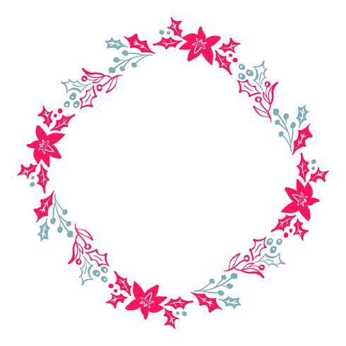 A grinalda tirada mão do Natal vermelha e os elementos florais azuis do inverno do projeto isolados no fundo branco para o projeto retro florescem. Caligrafia de vetor e lettering ilustração