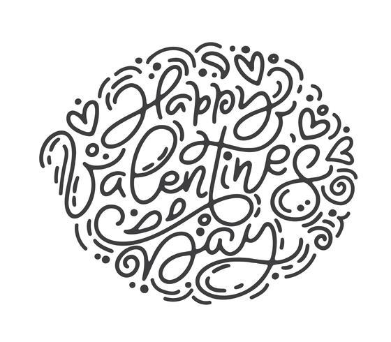 Vector de caligrafía monoline frase feliz día de San Valentín. Día de San Valentín letras dibujadas a mano. Tarjeta del día de San Valentín del diseño del doodle del bosquejo del día de fiesta del corazón. Decoración de amor para web, bodas y estampados.