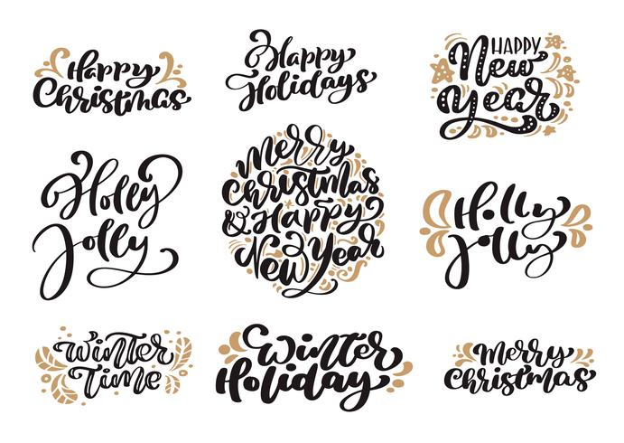 Merry Christmas Calligraphy.Set Of Merry Christmas Vintage Calligraphy Lettering Vector
