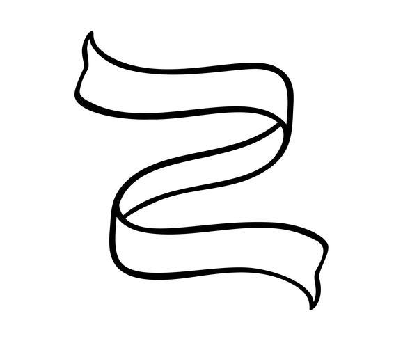 Vector el elemento de la cinta del vintage del ejemplo con el lugar para el texto. Boceto dibujado a mano diseño de banner doodle aislado sobre fondo blanco