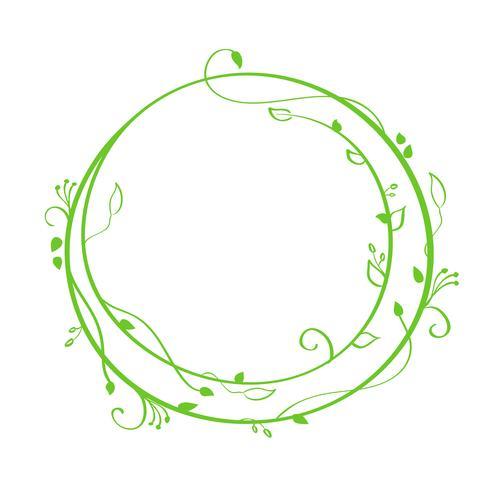 Calligraphie ronde vecteur vert dessiné à la main. Élément de conception de printemps Flourish. Décor floral de style lumière pour cartes de voeux, web, mariage et impression. Isolé sur fond blanc calligraphie et lettrage illustration
