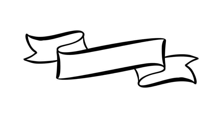 Vector o elemento na moda da fita do vintage da ilustração com lugar para o texto. Esboço de mão desenhada doodle banner design isolado no fundo branco