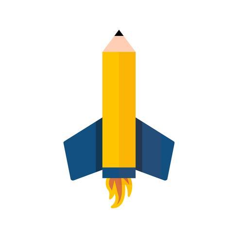Ícone de vetor de foguete de lápis