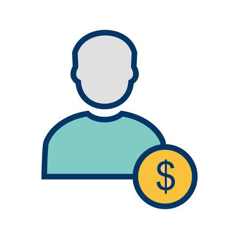 Dólar com ícone de vetor de homem