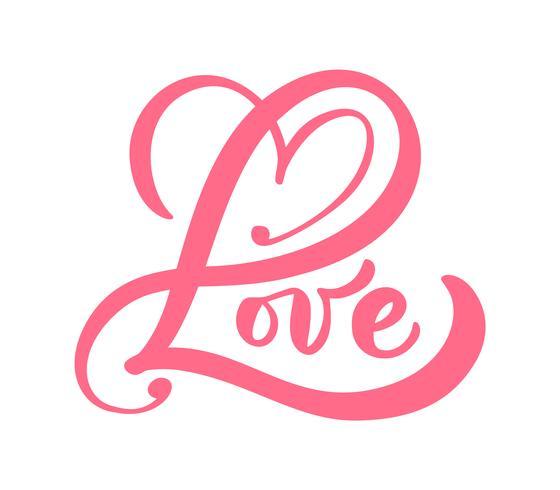 Parola di calligrafia rossa amore