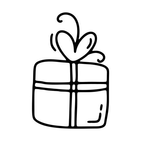 Vektor-Monoline-Geschenkbox. Valentinstag Hand gezeichnete Symbol. Feiertagsskizzengekritzel Gestaltungselementvalentinsgruß mit Herzen. Liebesdekor für Web, Hochzeit und Print. Isolierte darstellung