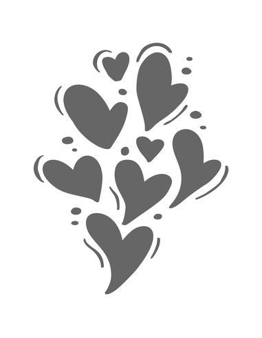 Lindos corazones grises de diferentes tamaños. Día de San Valentín vector icono dibujado a mano. Día de fiesta del bosquejo del doodle del elemento del diseño. Decoración de amor para web, bodas y estampados. Ilustración aislada