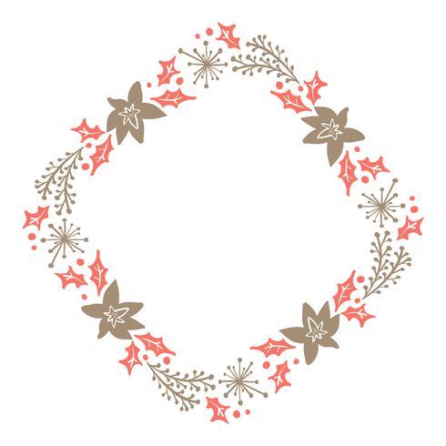 Guirlande florale de Noël dessinés à la main hiver Design Elements rouge et marron isolé sur fond blanc pour design rétro s'épanouir. Calligraphie de vecteur et lettrage