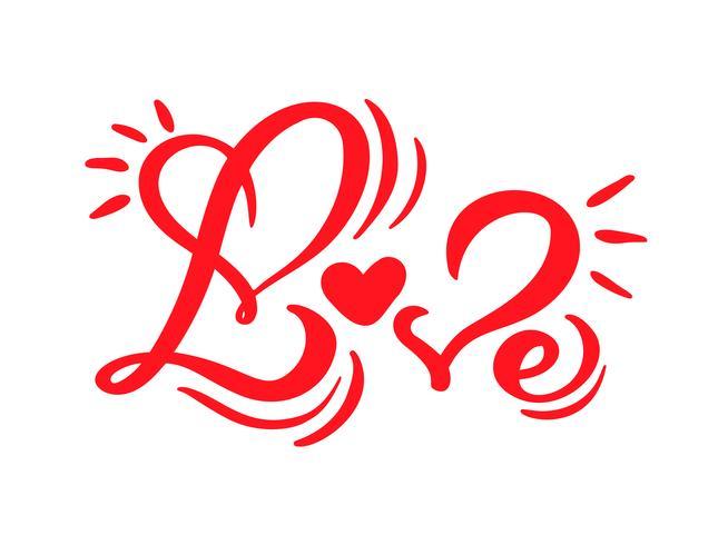 Rött kalligrafiord Kärlek. Vektor Alla hjärtans dag Hand Drawn lettering. Heart Holiday Design valentinkort. kärleksdekoration för webben, bröllop och tryck. Isolerad illustration