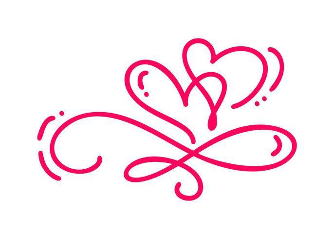 Par Monoline Röd Vector Alla hjärtans dag Hand Drawn Kalligrafiska Två Hjärtan. Kalligrafi bokstäver illustration. Holiday Design element valentin. Ikon kärleksdekor för webb, bröllop och tryck. Isolerat
