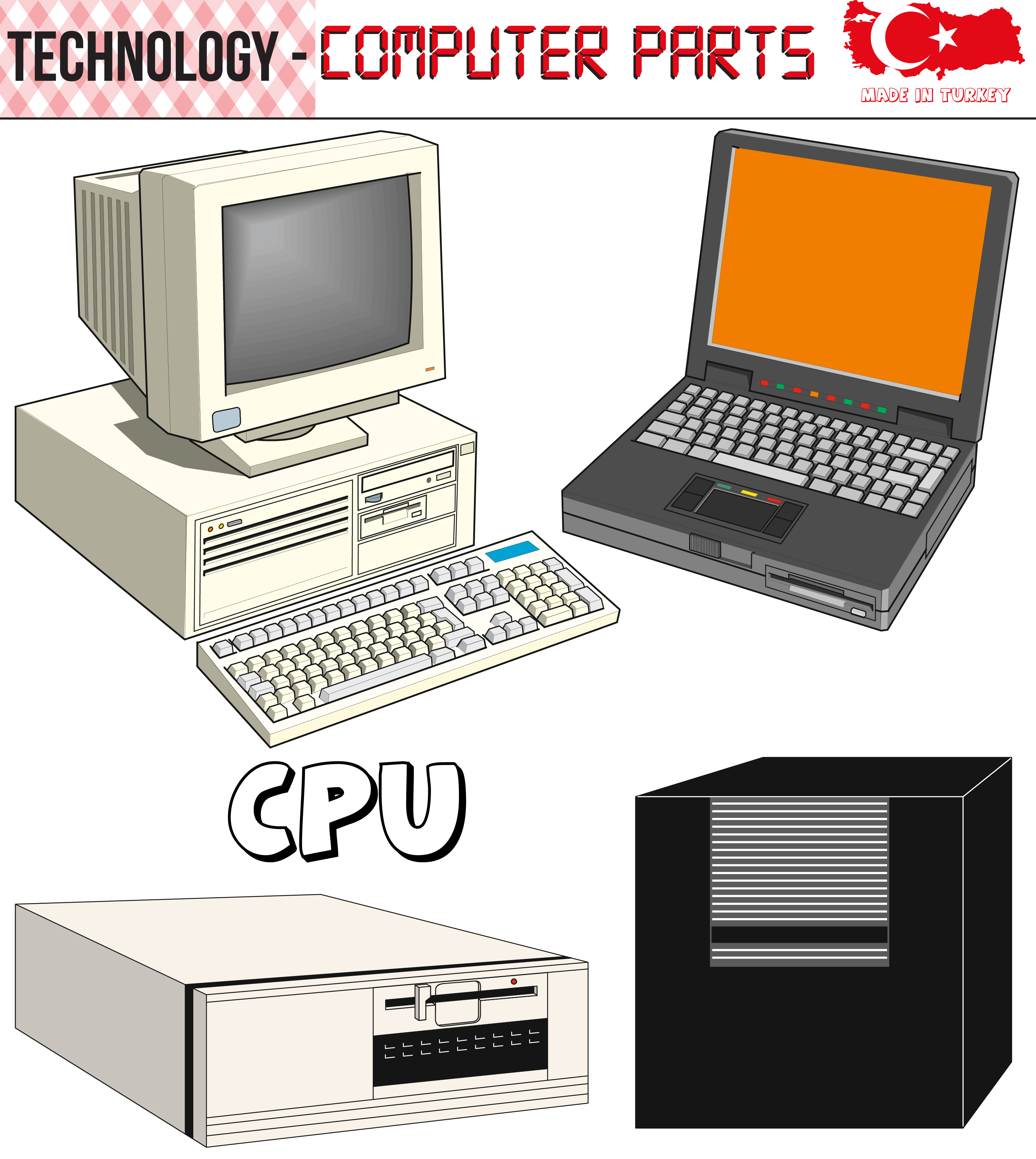 Retro Computers - equipment, CPU, CD and floppy disk, old ...