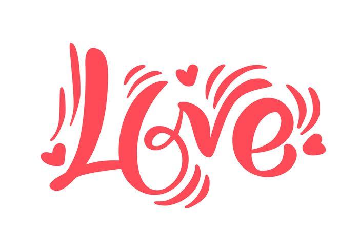 Amor rojo de la palabra de la caligrafía. Día de San Valentín vector dibujado a mano letras. Tarjeta de San Valentín corazón diseño de vacaciones. Decoración de amor para web, bodas y estampados. Ilustración aislada