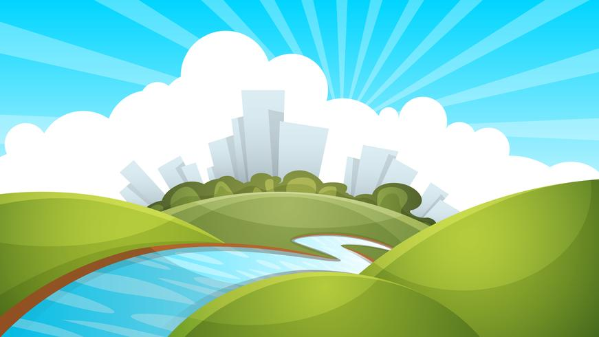 Paesaggio, città, fiume, nuvola, sole.