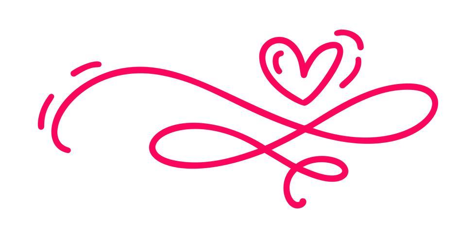 monoline vermelho vintage vector dia dos namorados mão desenhada caligráfica dois corações. Caligrafia letras ilustração. Valentim do elemento do divisor do projeto do feriado. Decoração de amor de ícone para web, casamento e impressão. Isolado