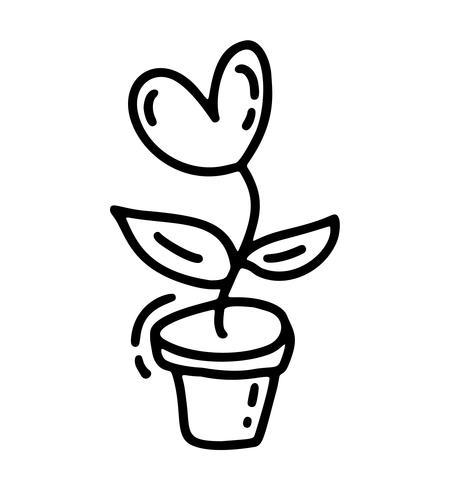 Flor monoline vector con el corazón. Día de San Valentín icono dibujado a mano. Vacaciones bosquejo doodle diseño planta elemento san valentín. Decoración de amor para web, bodas y estampados. Ilustración aislada