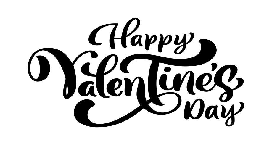 Kalligrafie zin Happy Valentine's Day. Vector Valentijnsdag Hand getrokken belettering. Heart Holiday sketch doodle Ontwerp valentijn kaart. liefdes decor voor web, bruiloft en print. Geïsoleerde illustratie