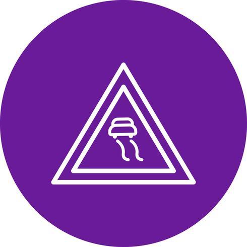 Vector icono de carreteras resbaladizas