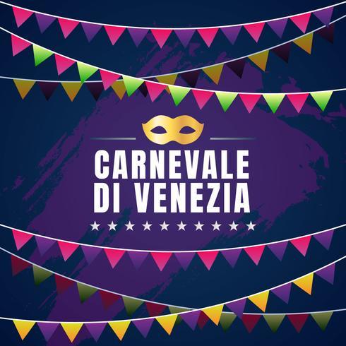 Carnevale Di Venezia Typographic Vector Design With Carnival Mask Symbol Element Background