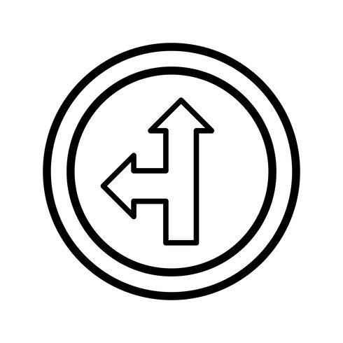 Vector Go straight or left Icon