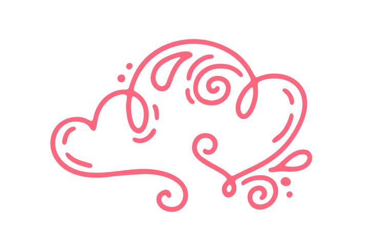 Paar Monoline rote Vektor-Valentinsgruß-Tageshand gezeichnete kalligraphische zwei Herzen. Urlaub Gestaltungselement Valentinstag. Ikonenliebesdekor für Netz, Hochzeit und Druck. Getrennte Kalligraphiebeschriftungsillustration