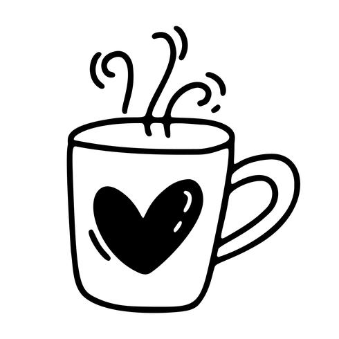 Vector monoline cute cup of coffee with heart. Valentines Day Hand Drawn icon. Holiday sketch doodle Design element valentine. love decor for web, wedding and print. Isolated illustration