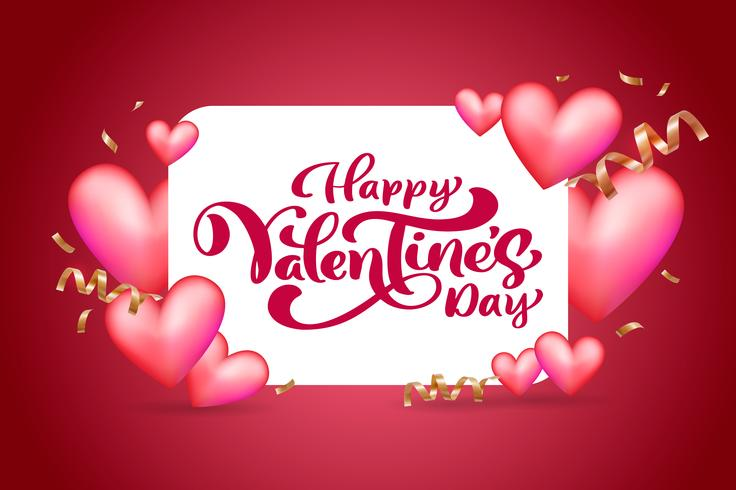 Vector text Happy Valentines Day typography design for greeting card and poster. Valentine quote on a red holidays background. Design template celebration illustration