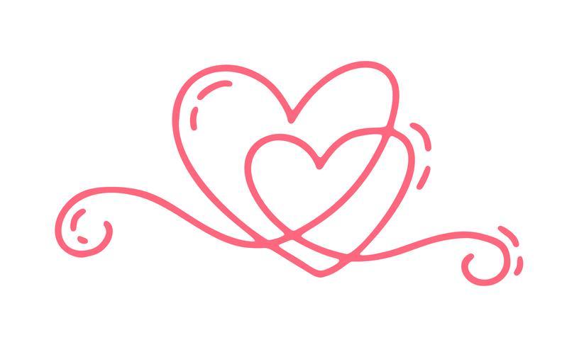 Par Monoline Röd Vector Alla hjärtans dag Hand Drawn Kalligrafiska Två Hjärtan. Holiday Design element valentin. Ikon kärleksdekor för webb, bröllop och tryck. Isolerad kalligrafi bokstäver illustration