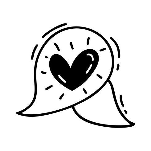 Bolha de texto bonito monoline vector com coração. Dia dos namorados mão desenhada ícone. Valentim do elemento do projeto da garatuja do esboço do feriado. decoração de amor para web, casamento e impressão. Ilustração isolada