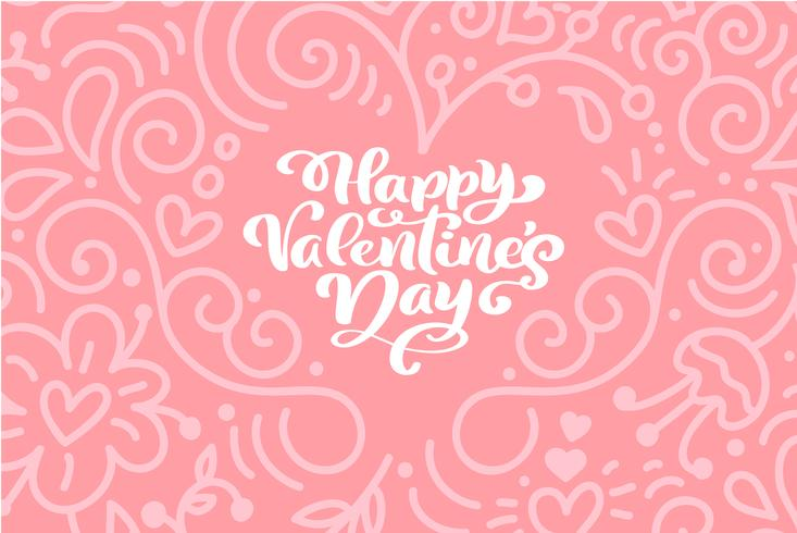 Calligraphy phrase Happy Valentine s Day with Hearts. Vector Valentines Day Card Hand Drawn lettering. Heart Holiday sketch doodle Design valentine card. love decor for web, wedding and print. Isolated illustration