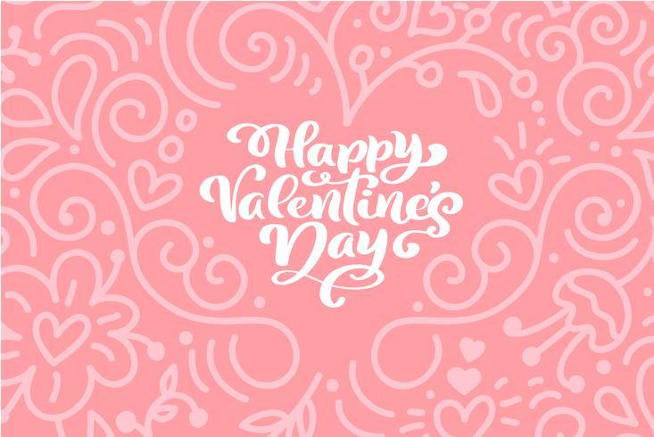 Caligrafía Frase Feliz Día De San Valentín Con Corazones