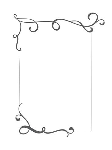 Vintage vector decorative hand drawn frame and borders. Design illustration for book, greeting card, wedding, print