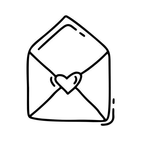 Vektor monoline kuvert. Valentinsdag Hand Drawn ikon. Heart Holiday sketch doodle Designelement valentin. kärleksdekoration för webben, bröllop och tryck. Isolerad illustration