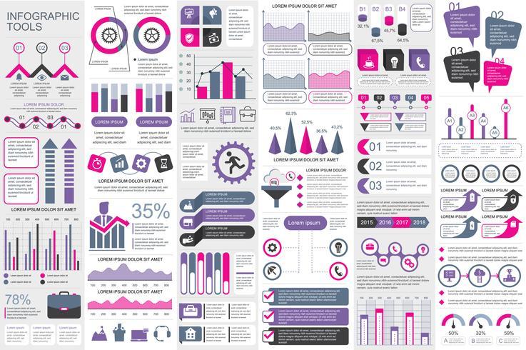 Infografía elementos de visualización de datos vector diseño de plantilla. Puede usarse para pasos, opciones, procesos de negocio, flujo de trabajo, diagrama, concepto de diagrama de flujo, línea de tiempo, iconos de marketing, gráficos de información.