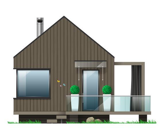 Fachada, de, um, casa moderna, com, um, terraço