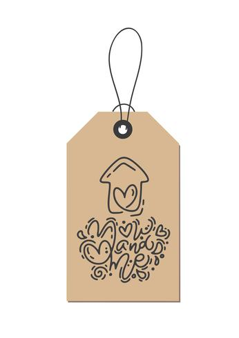Vector monoline calligraphy phrase You and me on kraft tag. Isolated Valentines Day Hand Drawn lettering illustration. Heart Holiday sketch doodle design valentine card. love decor for web, wedding and print